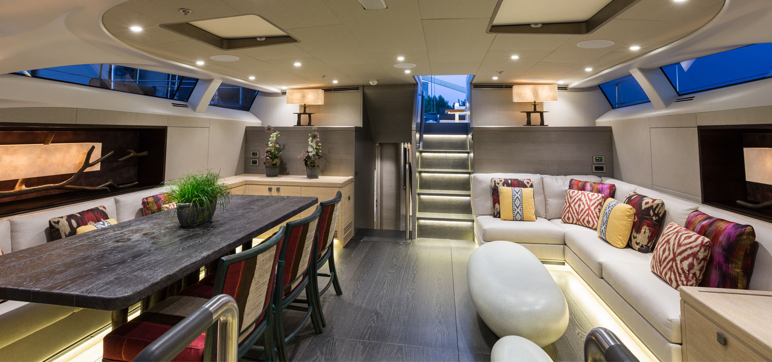 The interior of a luxury superyacht, designed by Adam Lay.