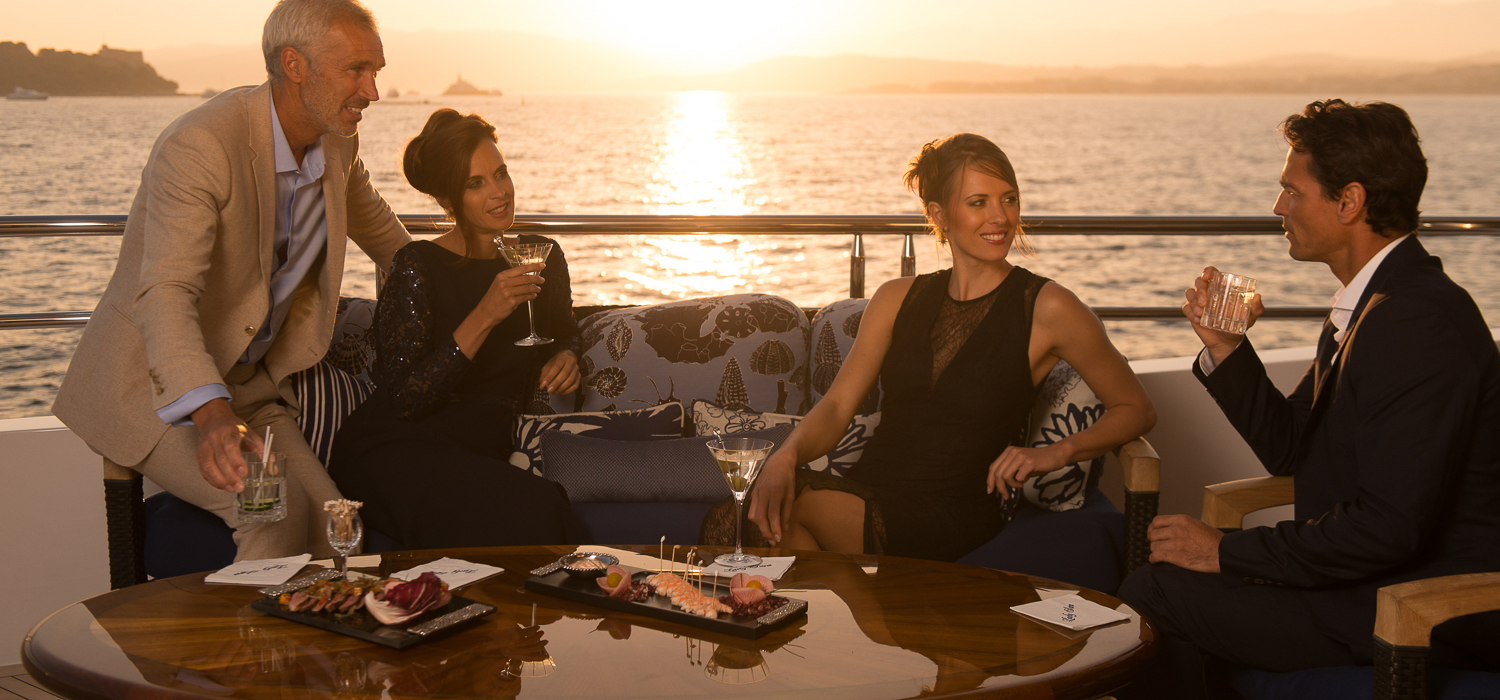 Sundowners on a luxury yacht charter