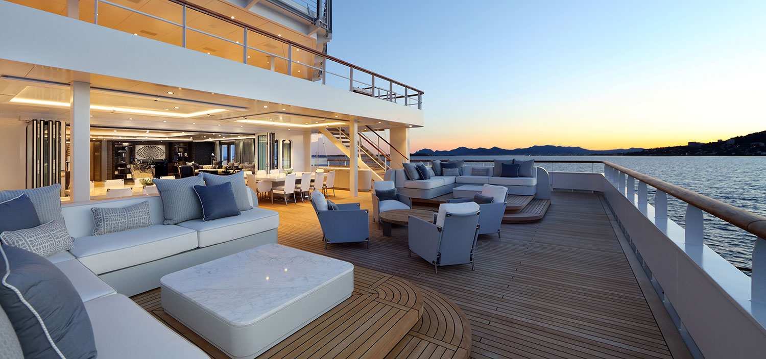 Lounge aft on a superyacht for sale with Fraser
