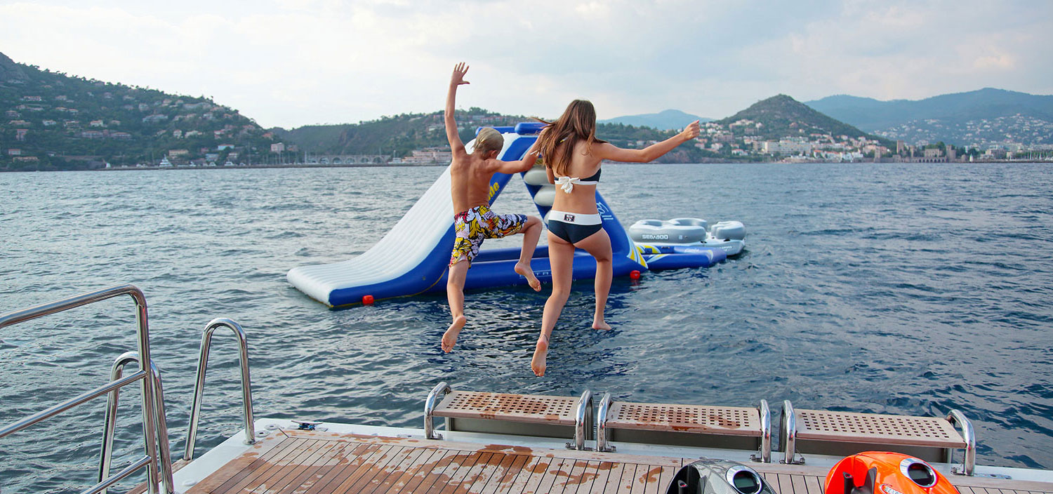 Water toy fun from a luxury yacht charter