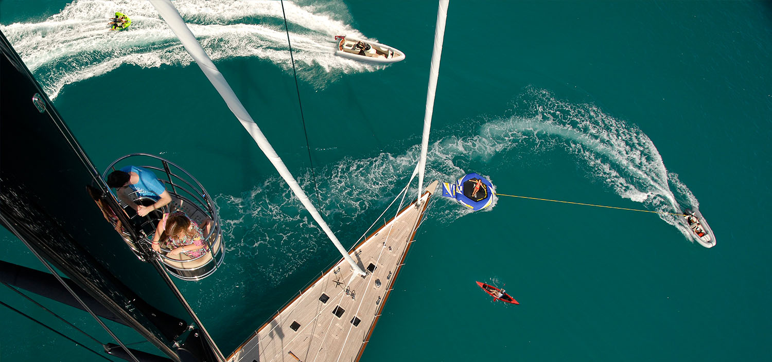Water toys & tenders from a sailing yacht for charter