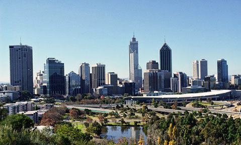 Enjoy the modern city skyline with green parks on a Perth yacht charter