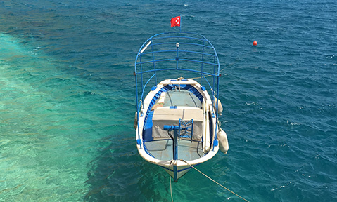 A blue and white fishing boat on clear blue water is a common sight on a kalkan yacht charter with Fraser